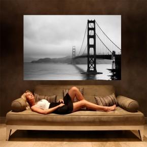 Fototapeta Golden Gate czarno biała | fototapety mosty