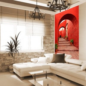 Fototapeta Red Alley In Monastery | fototapety uliczki