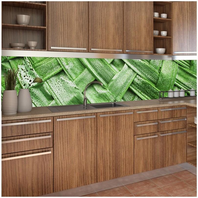 fototapeta bambus do kuchni między szafki