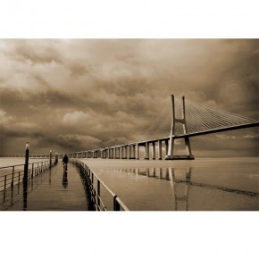 Fototapeta most Vasco da Gama w sepii