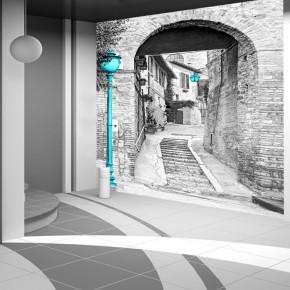 Fototapeta włoska uliczka z turkusową latarnią