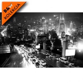 Fototapeta miasto nocą - czarno biała