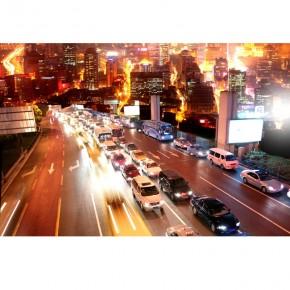 Fototapeta miasto nocą - autostrada