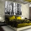 Sypialnia z fototapetą w czarno białe brzozy