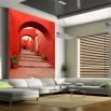 Fototapeta czerwona uliczka w aranżacji nowoczesnego salonu