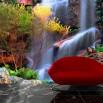 Fototapeta kolorowy wodospad w aranżacji salonu