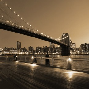 nocny Brooklyn Bridge w sepii