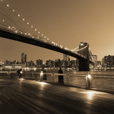 Fototapeta nocny Brooklyn Bridge w sepii