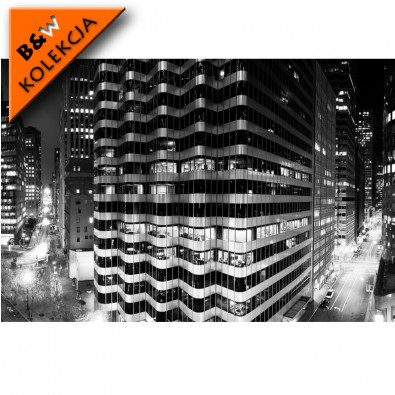 Fototapeta wieżowce nocą - czarno biała
