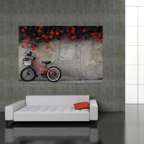 Fototapeta rower - kamienna ściana