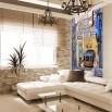 Aranżacja wąskiej ściany w salonie - fototapeta tramwaj Lizbona