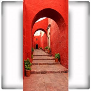 Fototapeta Red Alley In Monastery