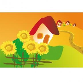 bajkowy domek i słoneczniki dla dzieci