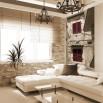 Fototapeta czerwone okiennice na wąską ścianę do salonu