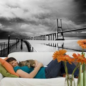 Fototapeta most czarno biała