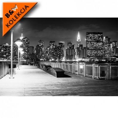 Fototapeta NY nocą czarno biała