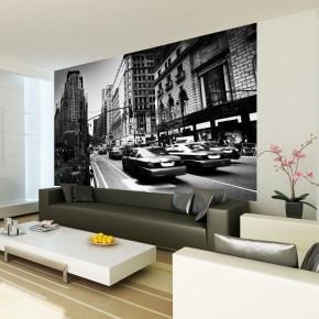Czarno biała ulica Taxi | Fototapety New York