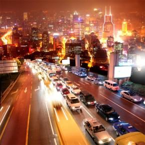 Autostrada | Fototapeta miasto nocą
