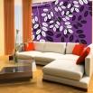 Białe listki na fioletowym tle | Fototapeta na ścianę