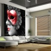 Aranżacja fototapety bal maskowy w nowoczesnym salonie