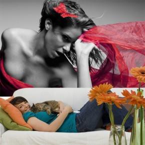 Fototapeta kobieta - czarno biała z czerwonym