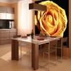 Dekorowanie jadalni z aneksem kuchennym - róża kremowa na fototapecie