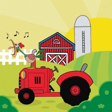 Kogut i traktor | Fototapeta dla dzieci