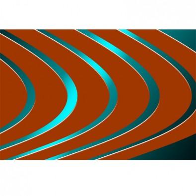 Fototapeta linie orzeszkowe - turkusowy neon | fototapety abstrakcje