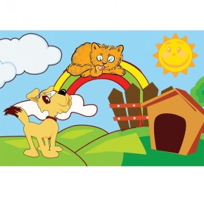 Fototapeta kot, pies i tęcza - dla dzieci