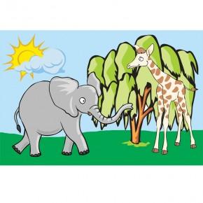 Fototapeta słoń i żyrafa dla dzieci