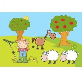 Fototapeta farma koń, owce dla dzieci