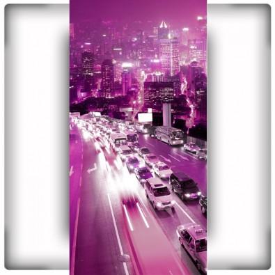 Fototapeta fioletowe miasto na wąską ścianę