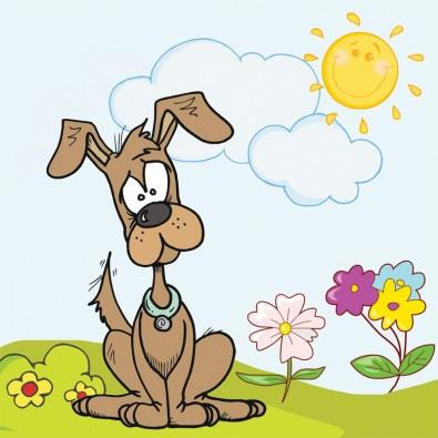 Piesek i słoneczko | Fototapeta dla dzieci
