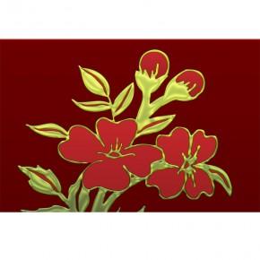 bordowy ornament z kwiatem
