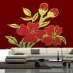 Fototapeta bordowy ornament z kwiatem