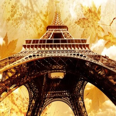 Fototapeta złoty Paryż Vintage