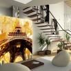 Aranżacja ściany pod schodami - fototapeta złoty Paryż Vintage