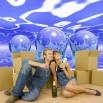 Fototapeta niebieskie kule w salonie