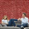 Fototapeta czerwona cegła - aranżacja w salonie