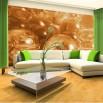 Aranżacja zielonego salonu - fototapeta bursztynowe kule