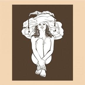Kobieta w dużym kapeluszu | Fototapeta ornemet