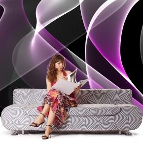 Fototapeta nowoczesna abstrakcja fioletowo biała