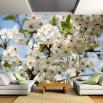 Aranżącja fototapety białe kwiaty