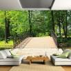 Aranżacja salonu - fototapeta drewniany mostek