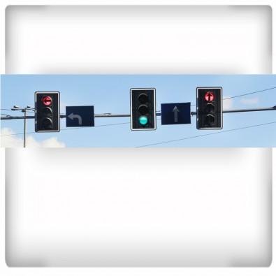 Fototapeta sygnalizatory uliczne - panoramiczna