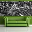 Fototapeta rowerowa panorama - czarno biała do salonu