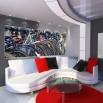 Fototapeta rowerowa panorama - do salonu z czerwonymi dodatkami