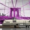 Fototapeta różowy most Brookliński w aranżacji salonu