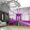Fototapeta różowy most Brookliński na ścianie nowoczesnego salonu