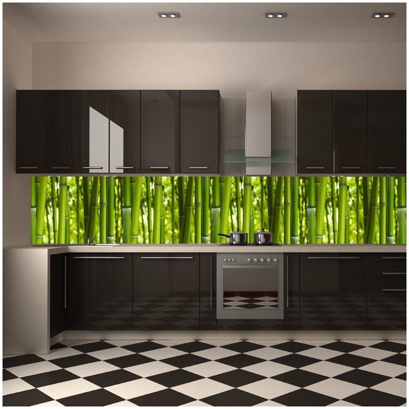 fototapeta bambusy między szafki do kuchni